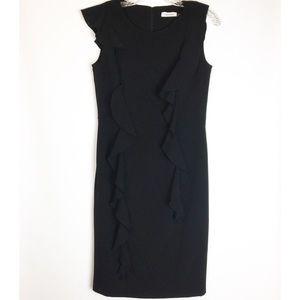 Calvin Klein Black Ruffle Dress with Belt